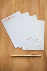 orange letterpress cards