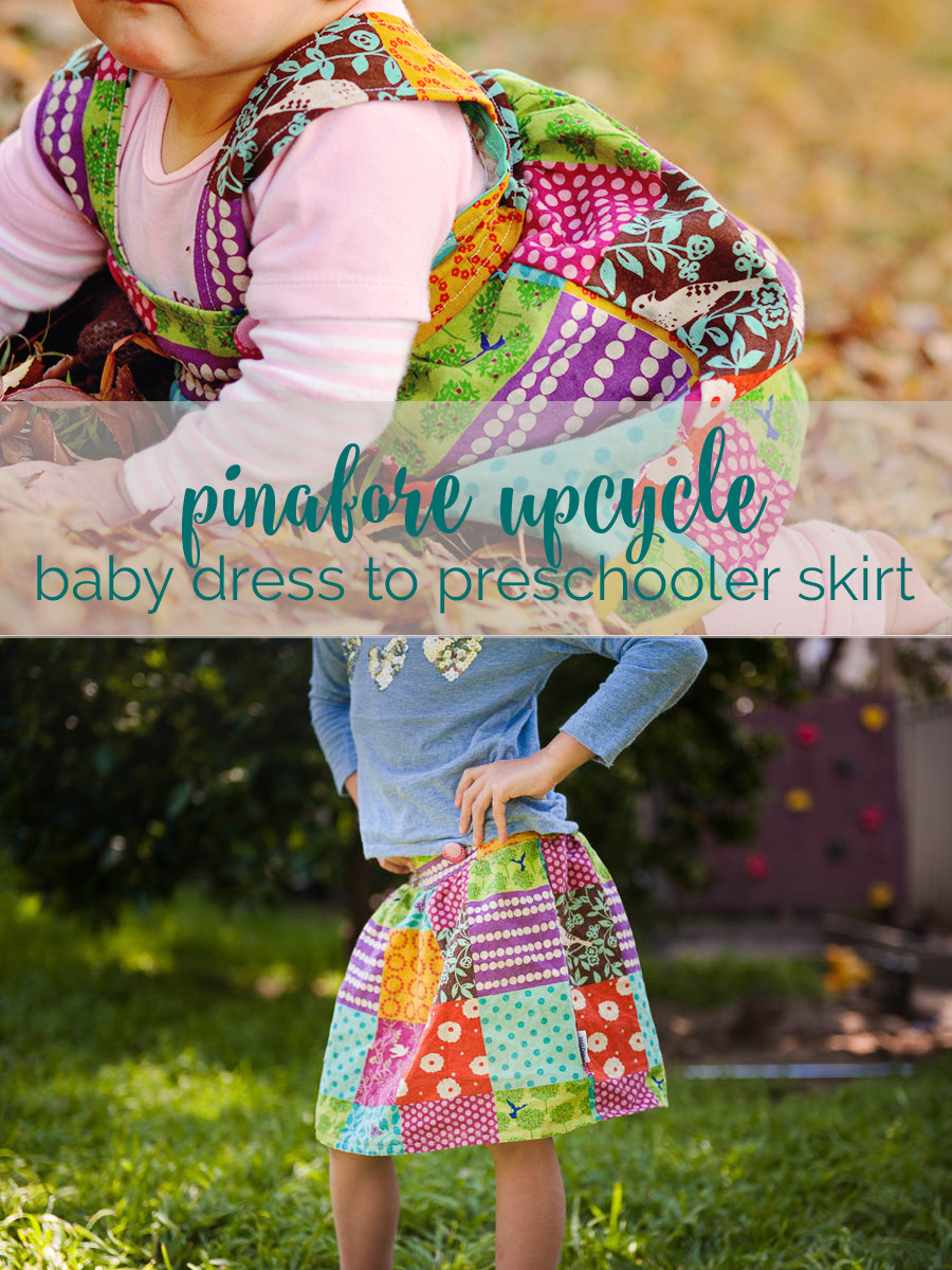 how I turned a favourite baby pinafore into a cute preschoolers skirt